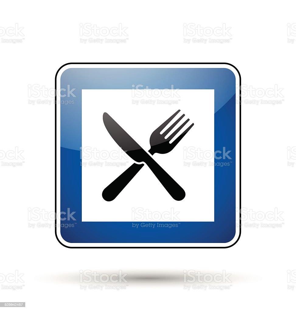Restaurant road sign vector art illustration