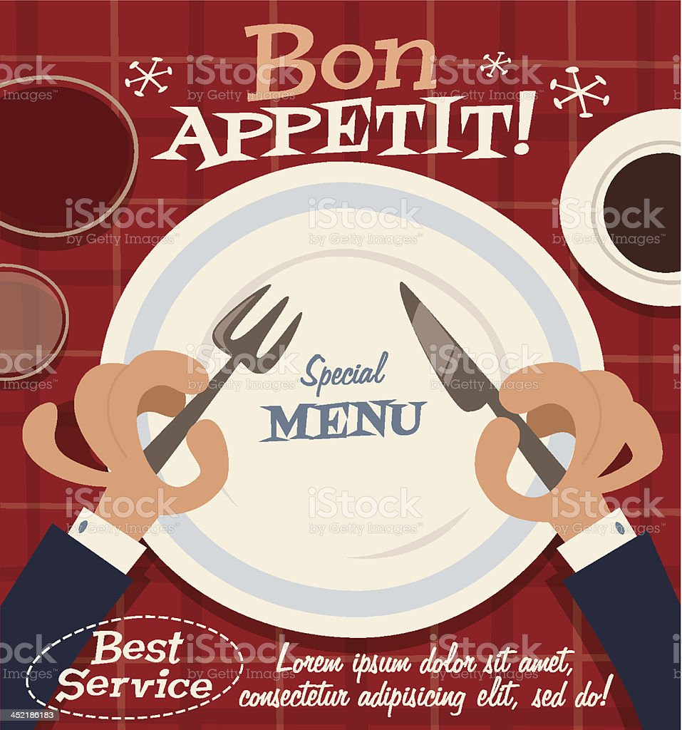 Restaurant service. Special menu retro background vector art illustration