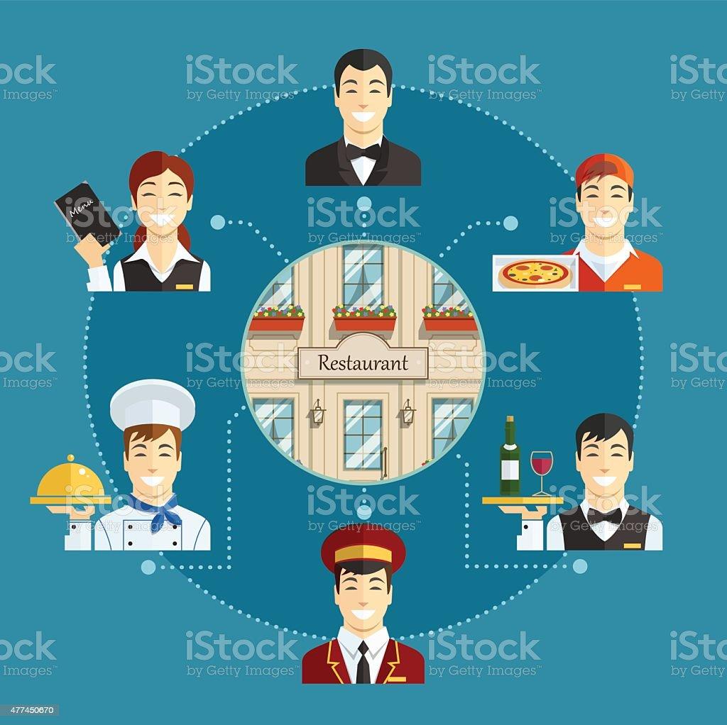 Obsługa w restauracji stockowa ilustracja wektorowa royalty-free