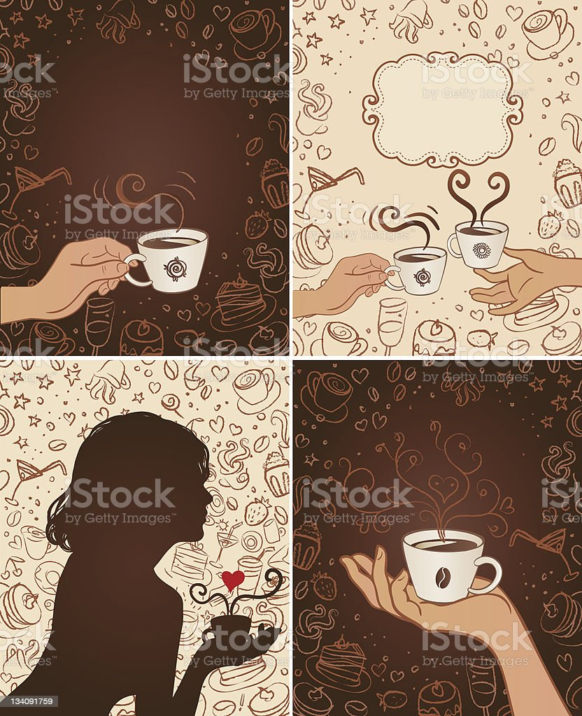 Restaurant set: coffee scribble background royalty-free stock vector art
