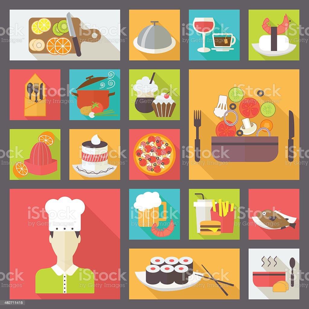 Restaurant set vector art illustration