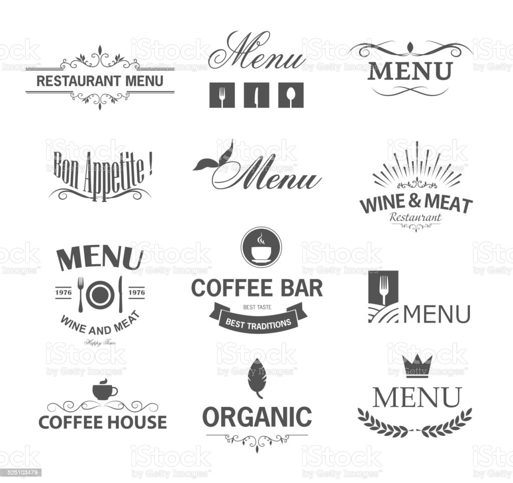 Restaurant signs vector art illustration