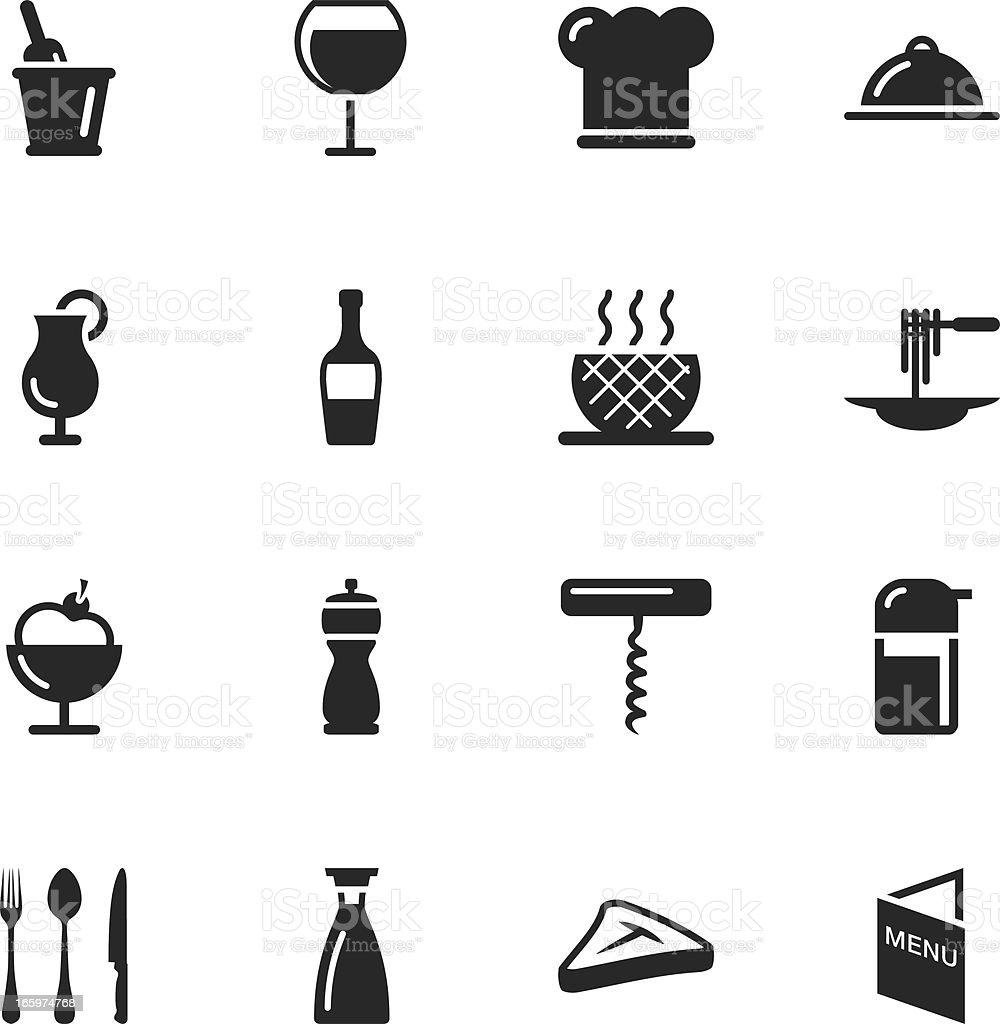 Restaurant Silhouette Icons vector art illustration
