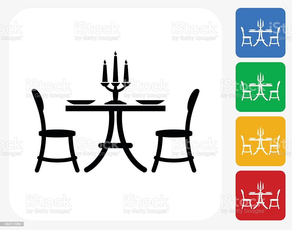 Restaurant Table Icon Flat Graphic Design vector art illustration
