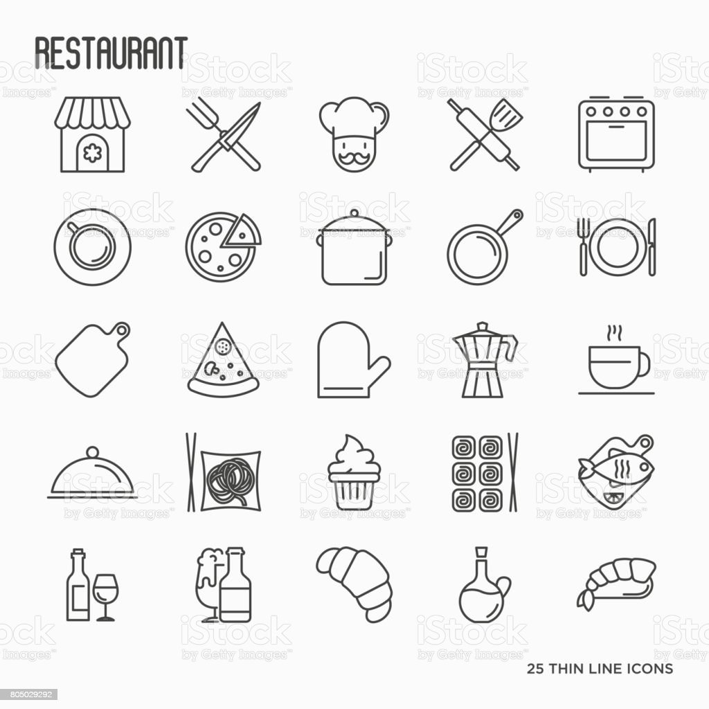 Restaurant Kitchenware restaurant thin line icons set chef kitchenware food beverages for