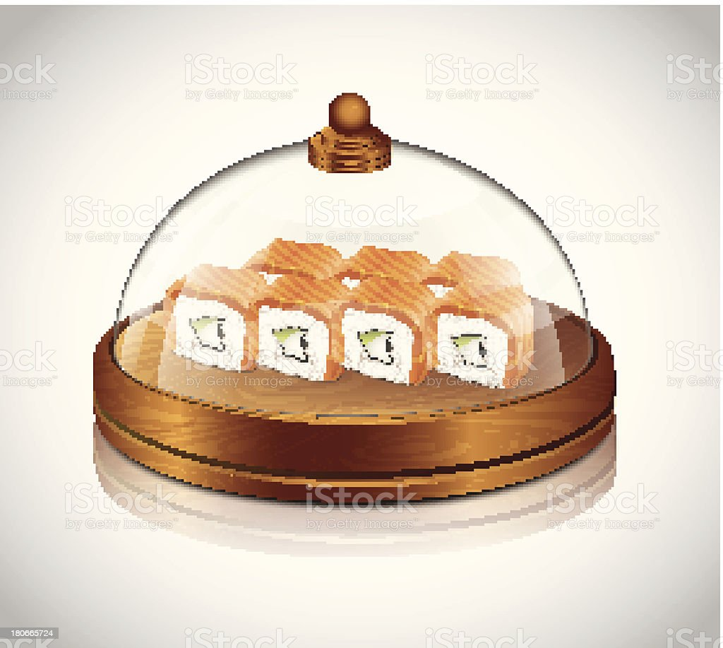Restaurant Transparent Lid With Sushi royalty-free stock vector art