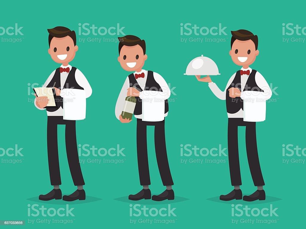 Restaurant waiter takes the order, shows a bottle of wine vector art illustration