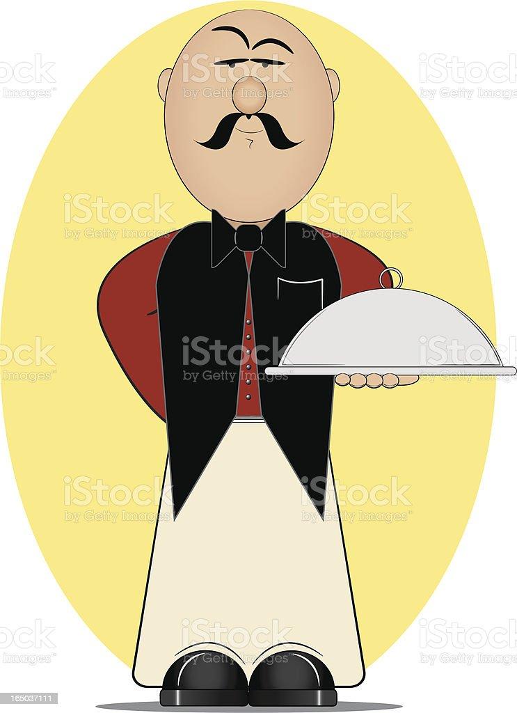 Restaurant Waiter with Serving Platter royalty-free stock vector art