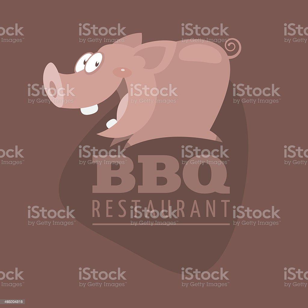 BBQ Restaurants emblem pig vector art illustration