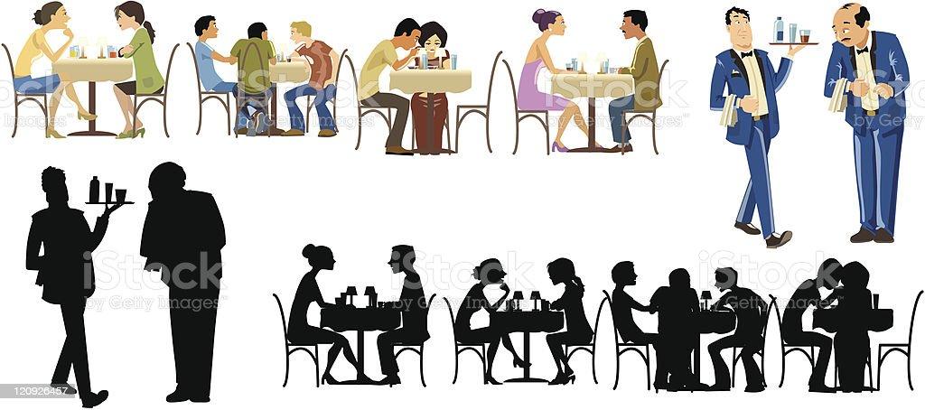Restaurants Goers Collection vector art illustration