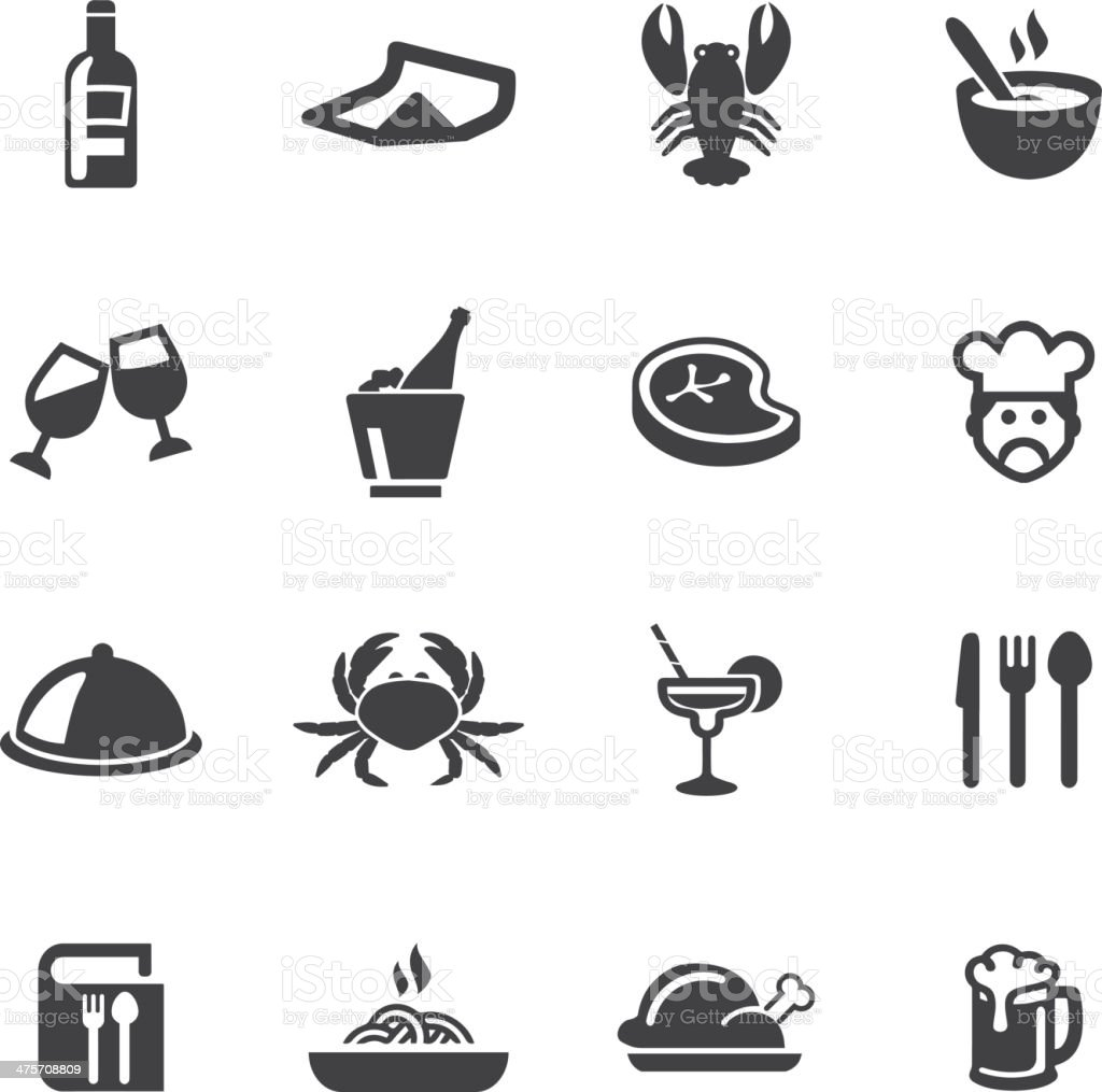 Restaurants Silhouette Icons vector art illustration