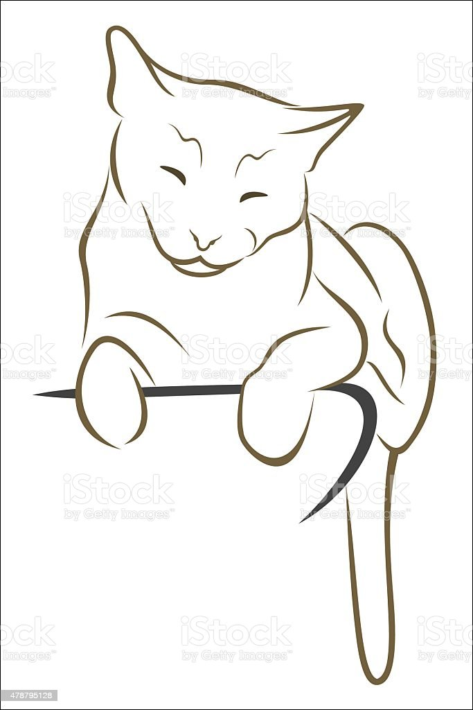 Resting cat royalty-free stock vector art