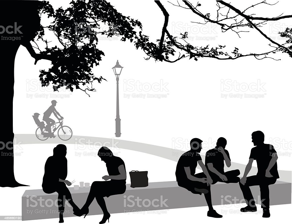 Resting In The Park vector art illustration