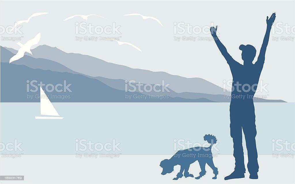 Resting lakeside vector art illustration