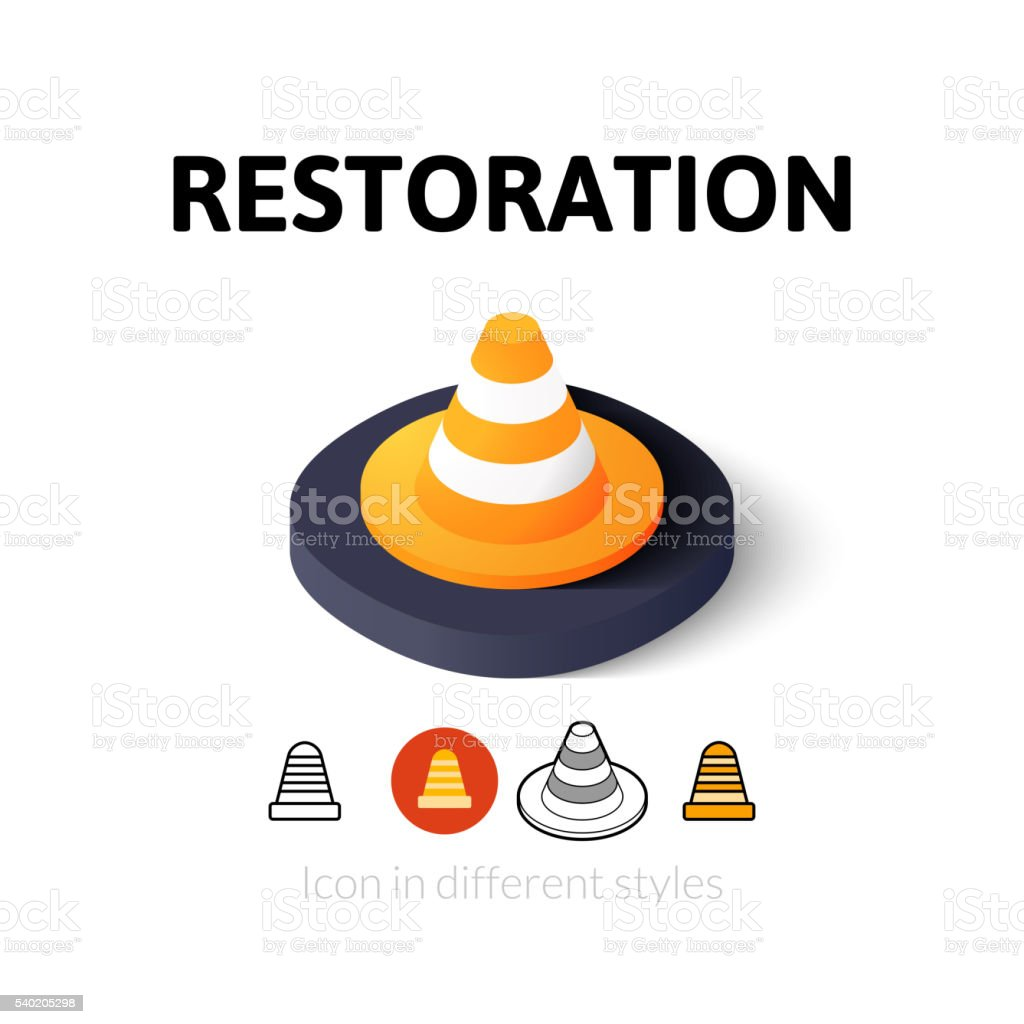 Restoration icon in different style vector art illustration