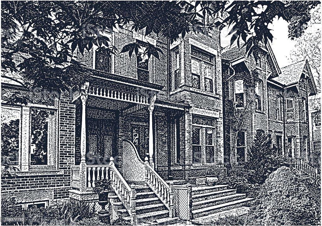 Restored Victorian Homes royalty-free stock vector art