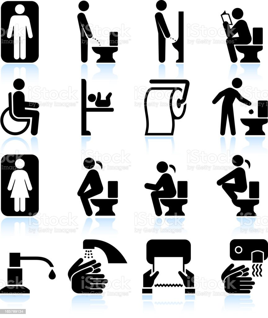 Restroom bathroom Amenities and Signs black & white icon set vector art illustration