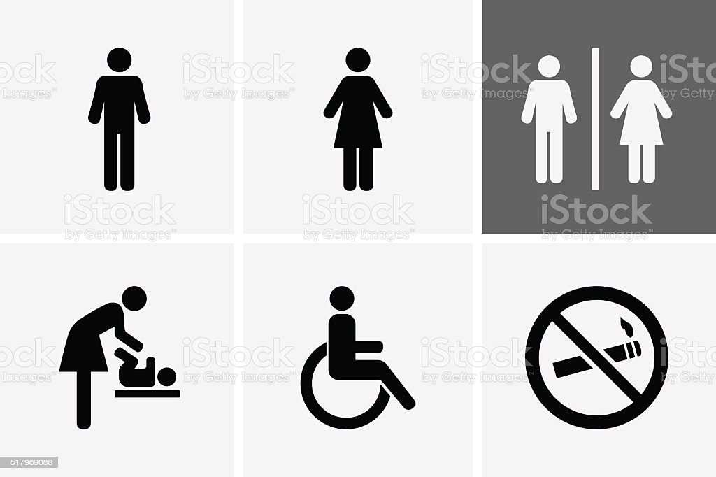 Restroom Icons vector art illustration