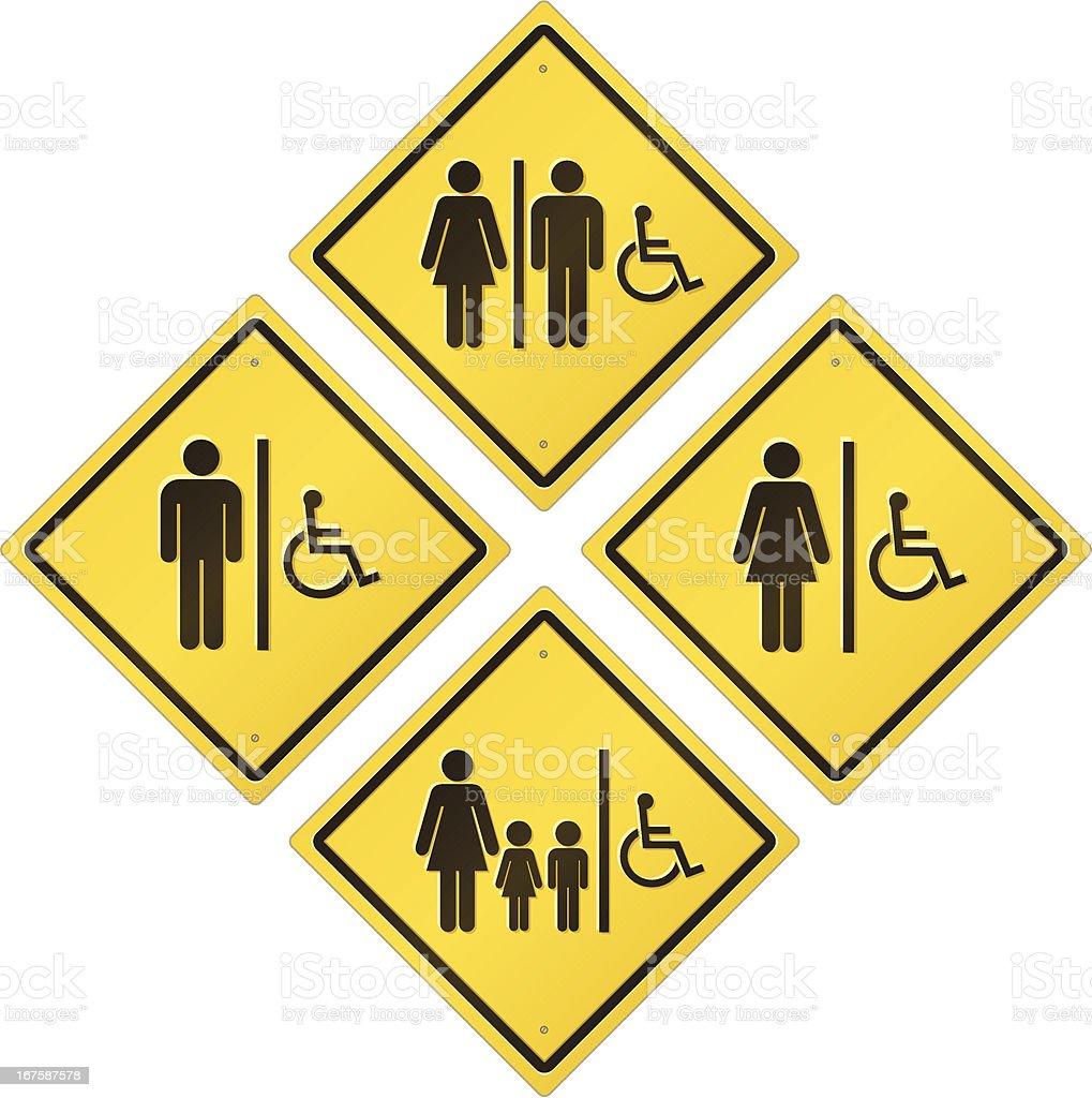Restroom Road Sign Set - Handicap Accessible vector art illustration