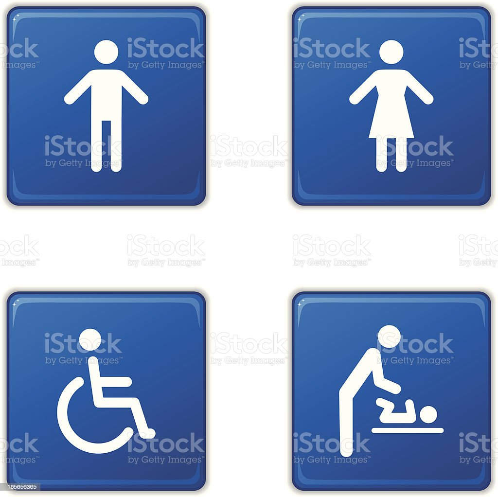 Restroom sign icons - square royalty-free stock vector art