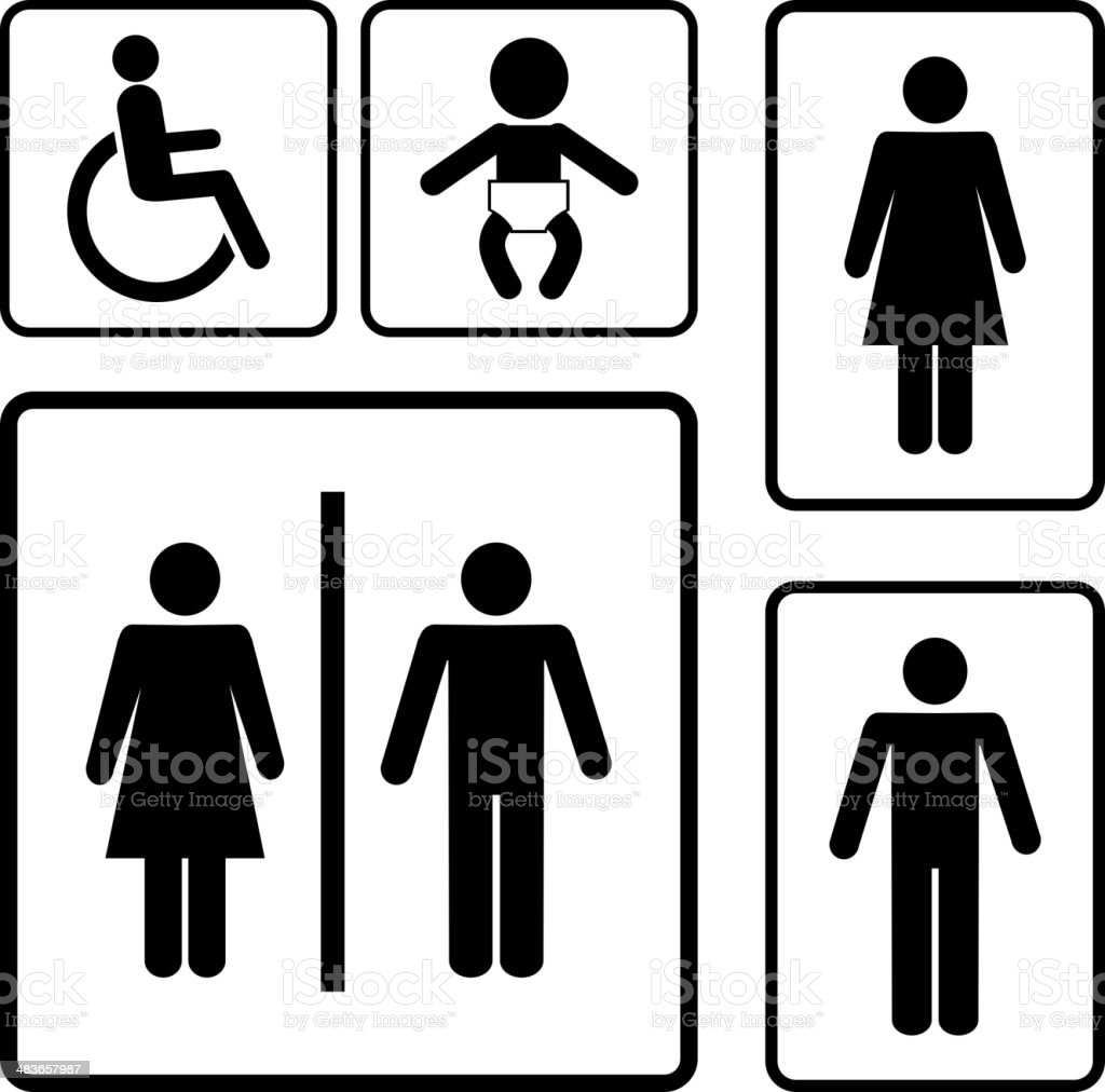 restroom signs vector art illustration