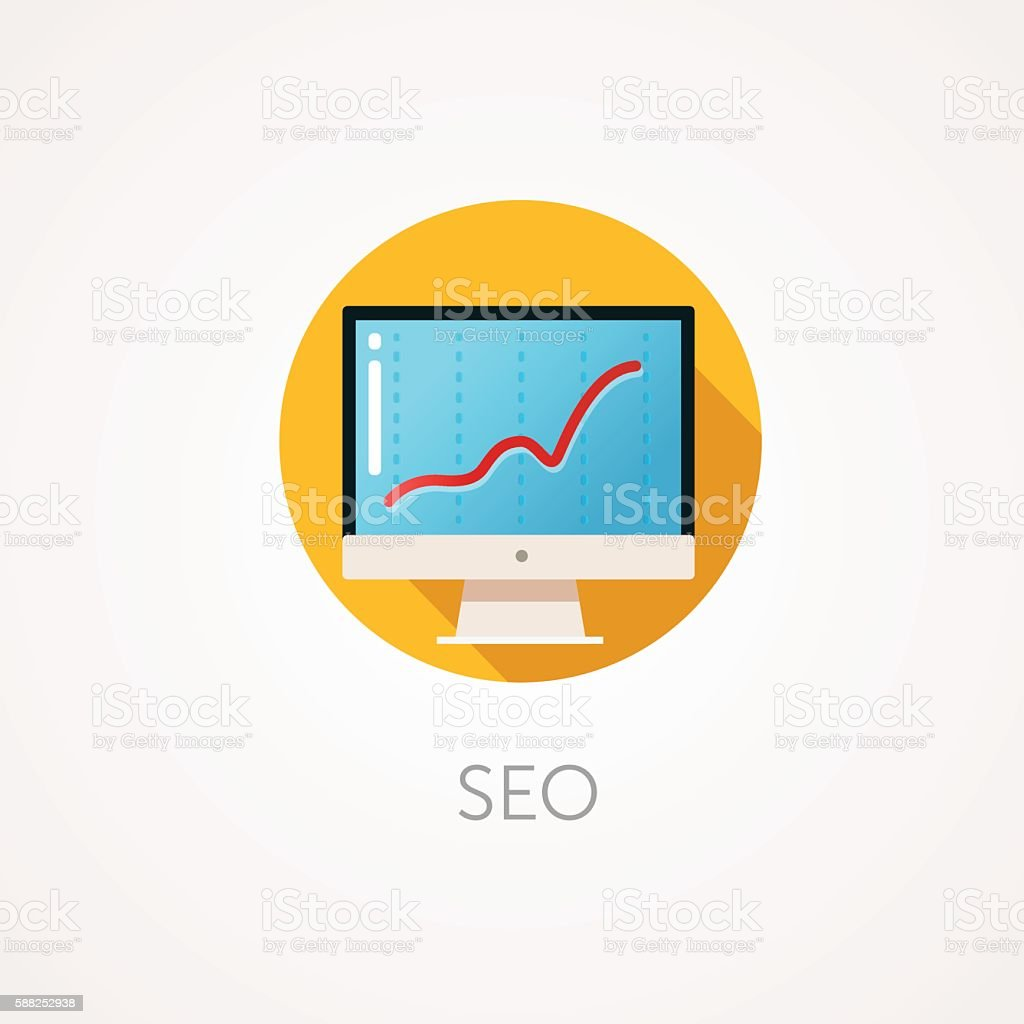 SEO result Icon. Flat design style with long shadow. Monitoring, vector art illustration
