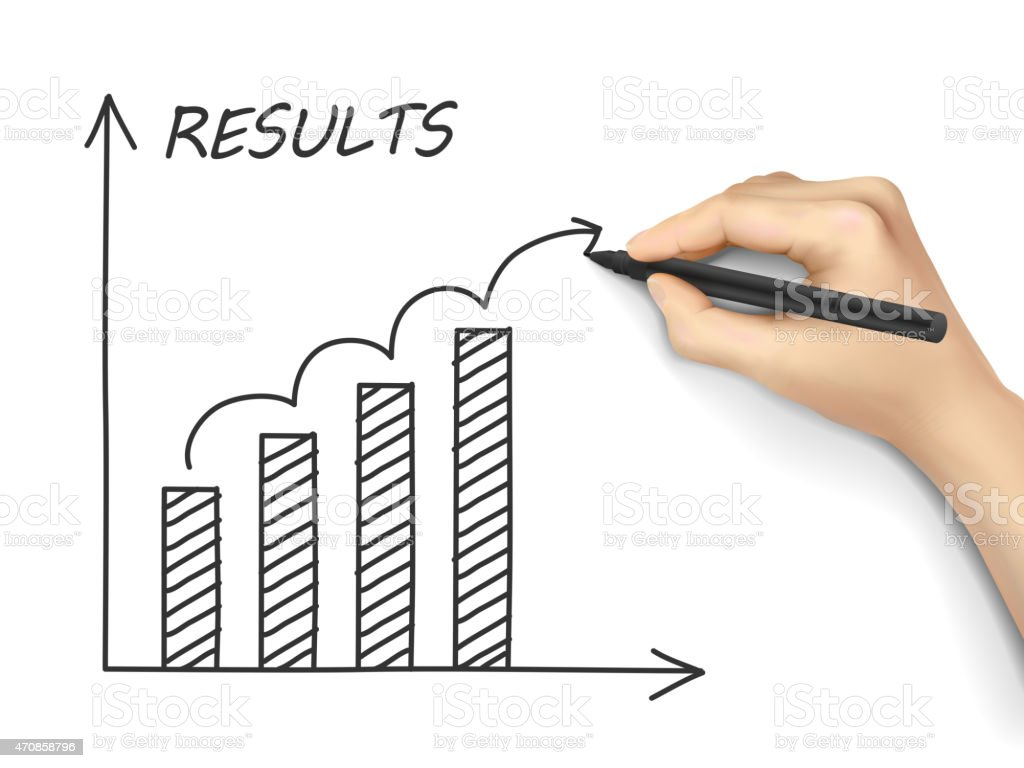 results graph drawn by hand vector art illustration