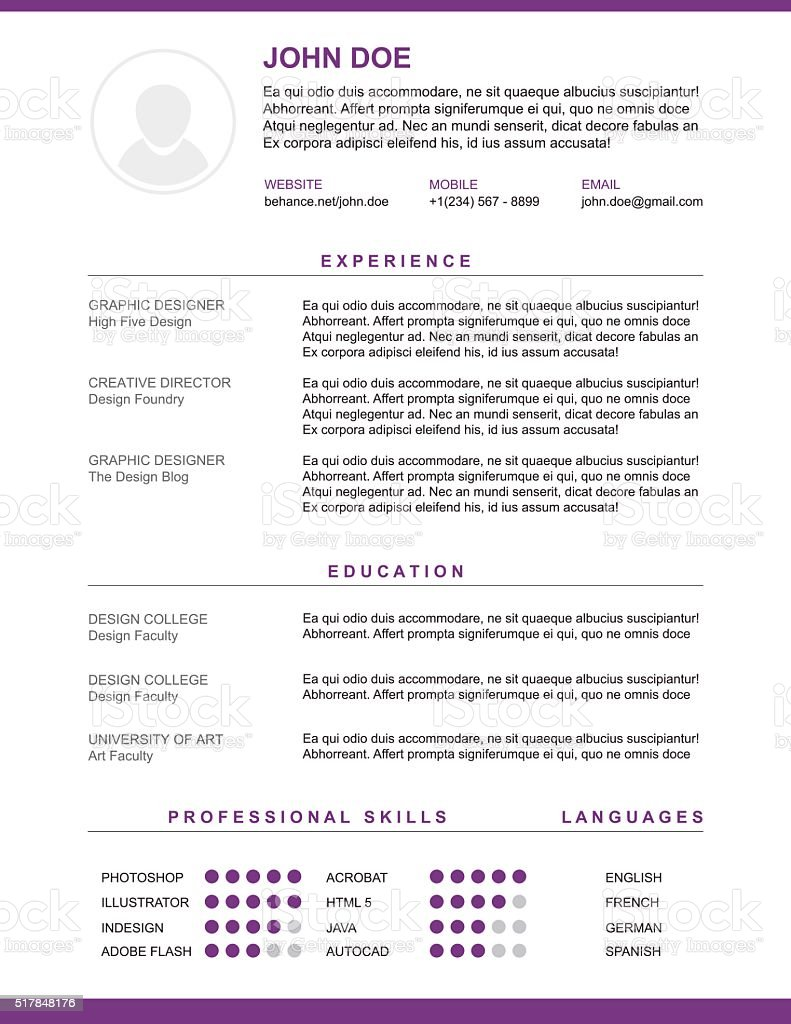 resume and cv vector template stock vector art 517848176