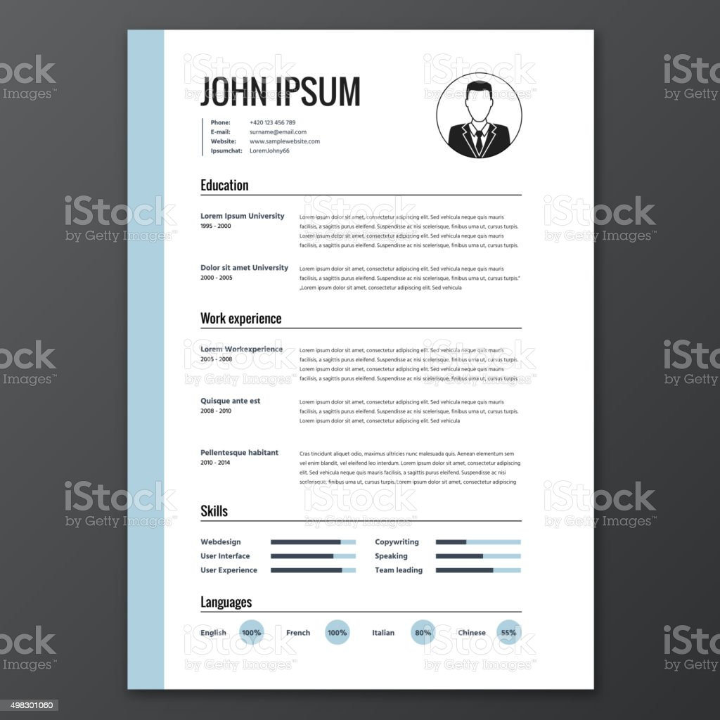 CV, resume template vector art illustration