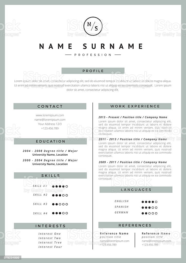 Resume template royalty-free stock vector art