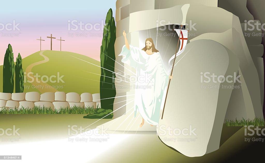 Resurrected Jesus Christ vector art illustration