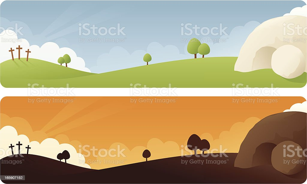 Resurrection Easter Banner vector art illustration