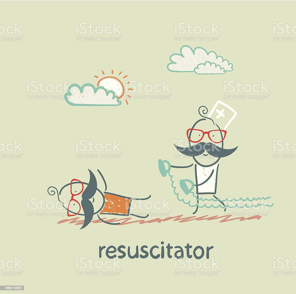 resuscitation in a hurry to sick patient royalty-free stock vector art