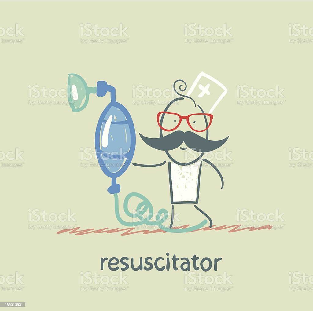 resuscitation with oxygen mask royalty-free stock vector art