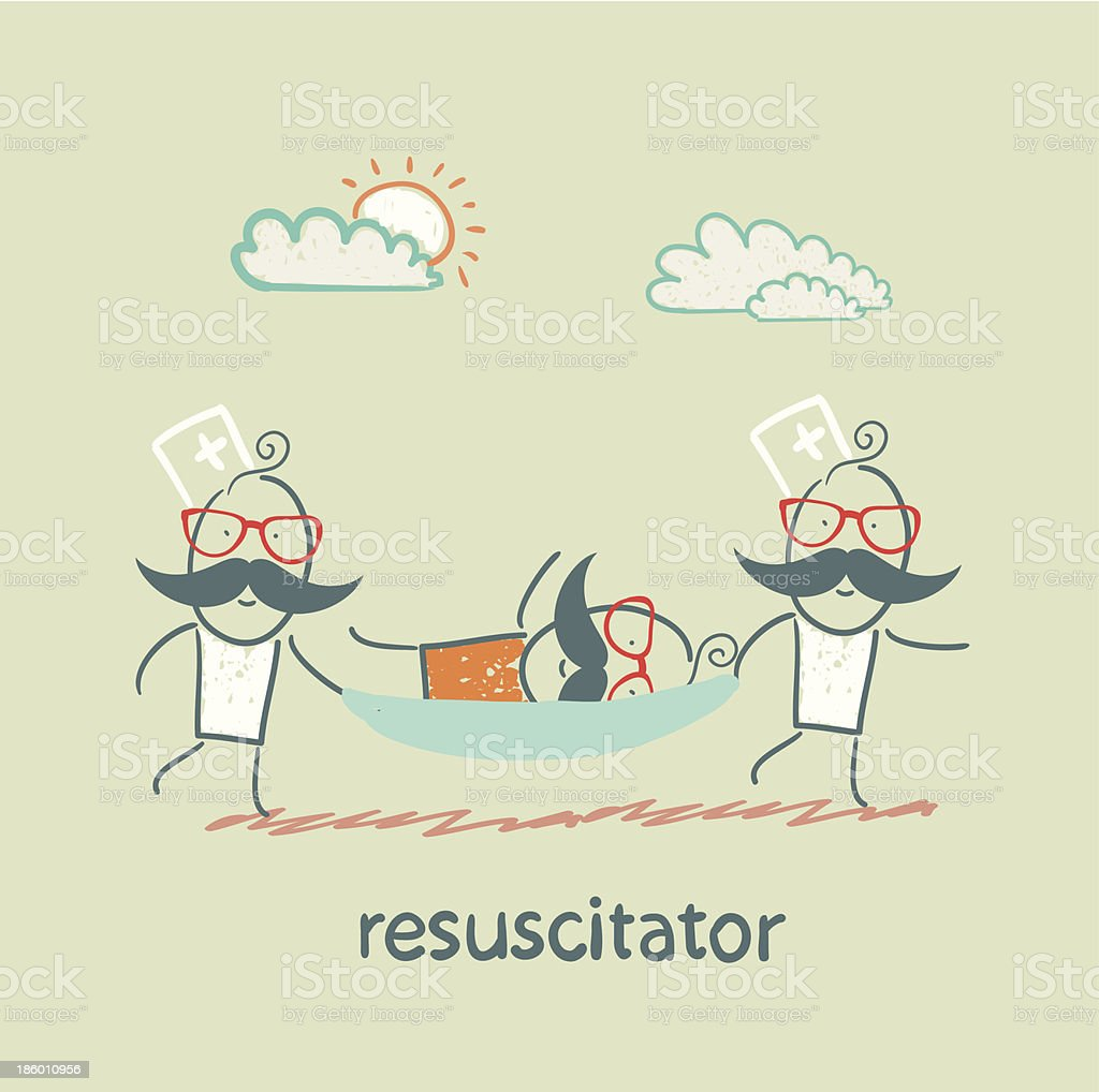 resuscitator carry on a stretcher patient royalty-free stock vector art