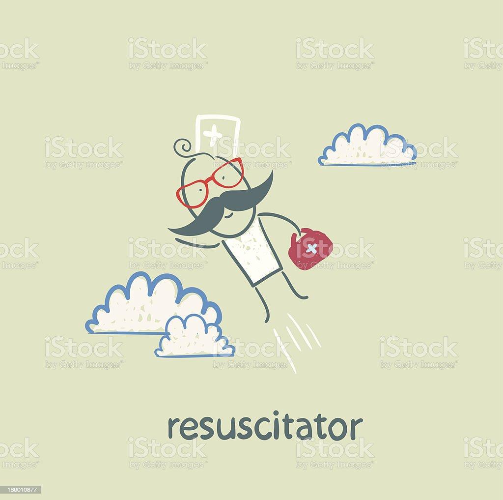 resuscitator flies to the patient royalty-free stock vector art