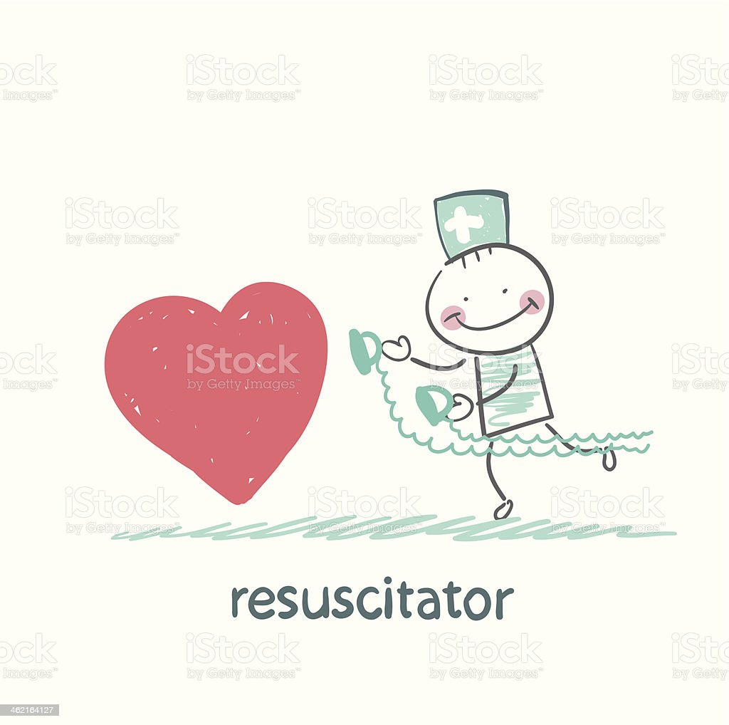 resuscitator hurry to the heart is sick royalty-free stock vector art