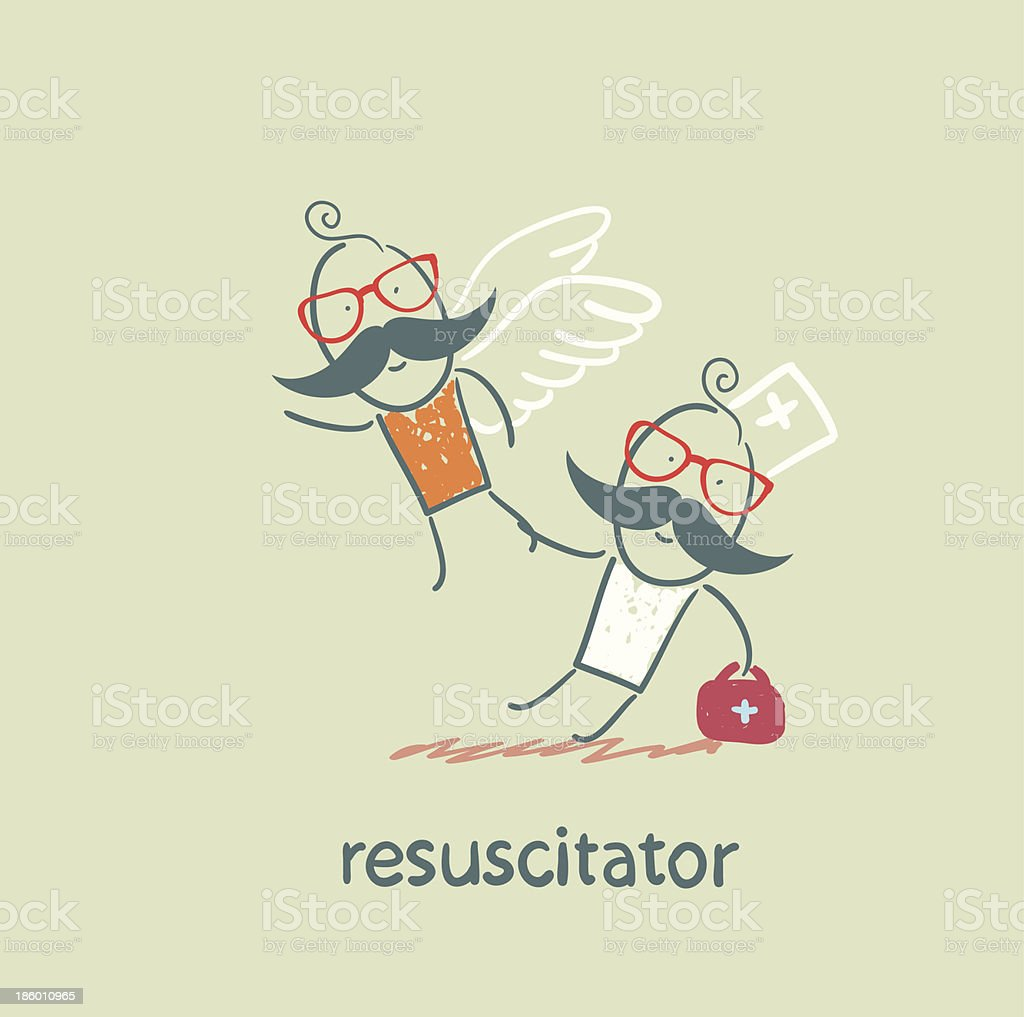 resuscitator keeps flying away into the sky patient royalty-free stock vector art