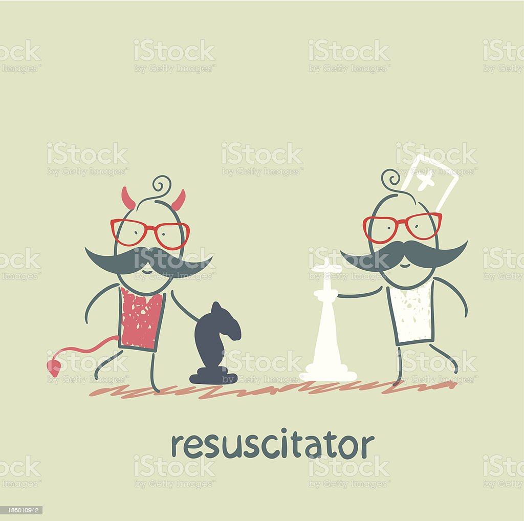 resuscitator plays chess with the devil royalty-free stock vector art