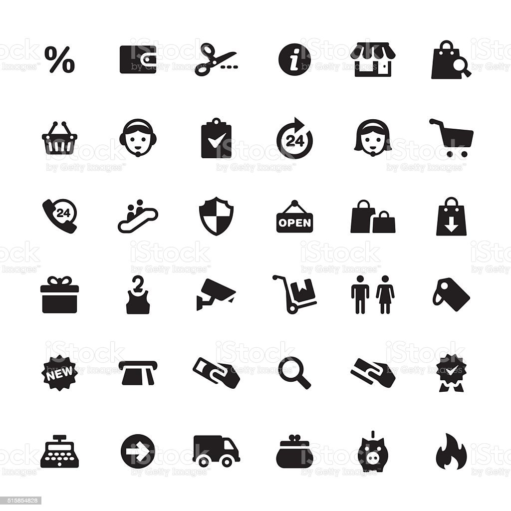 Retail and E-commerce vector symbols and icons vector art illustration