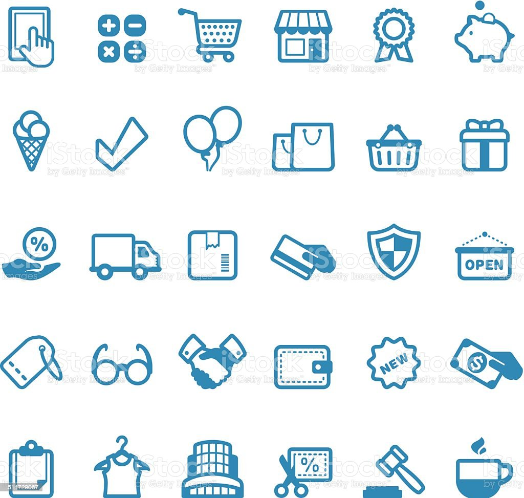 Retail and Service icons / Linico series vector art illustration