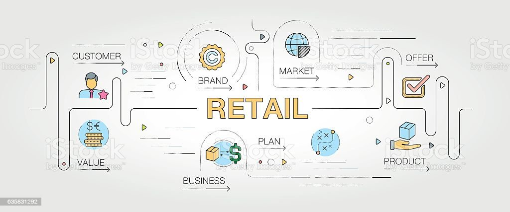 Retail banner and icons vector art illustration