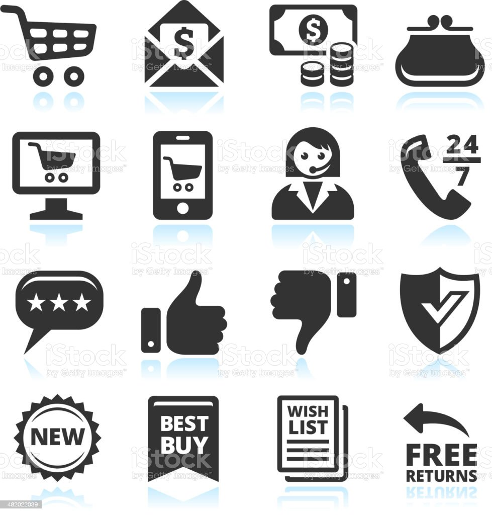 Retail black and white vector illustration icons vector art illustration