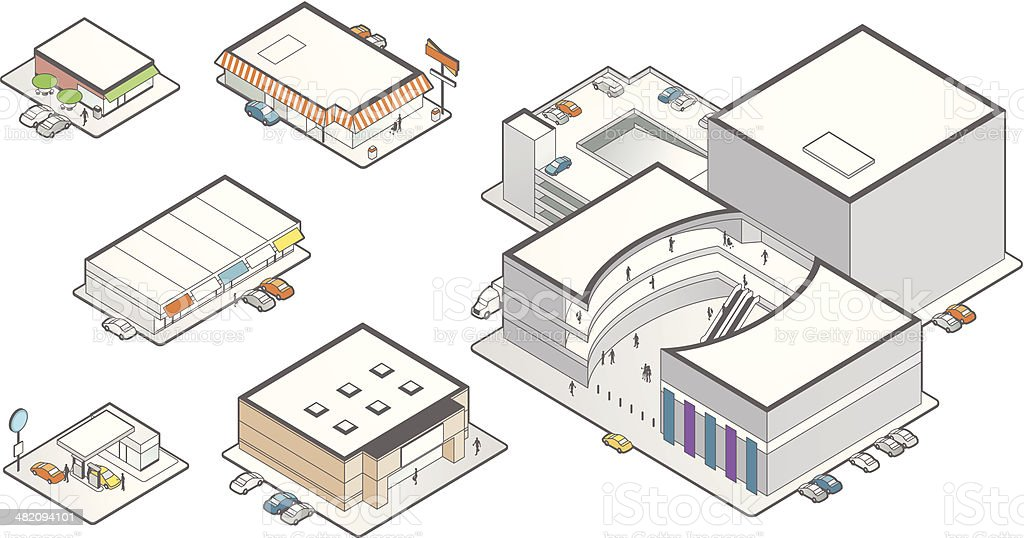Retail Building Icons Illustration vector art illustration