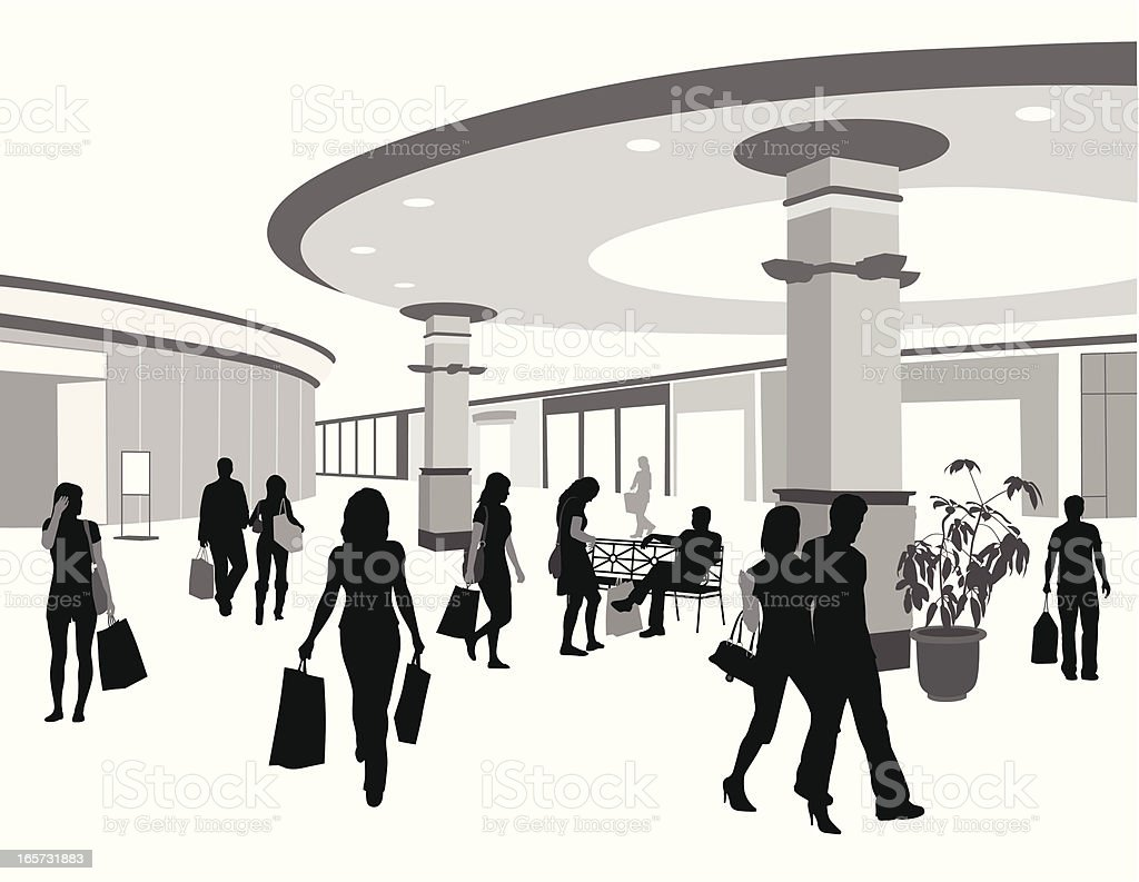 Retail Center Vector Silhouette vector art illustration