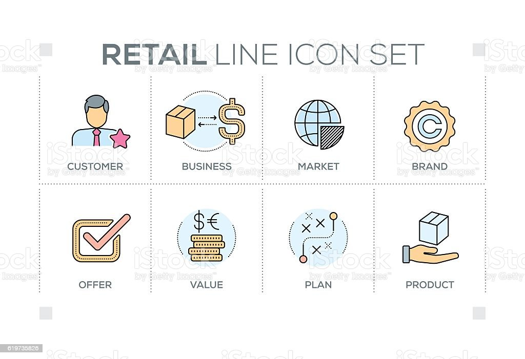 Retail keywords with line icons vector art illustration