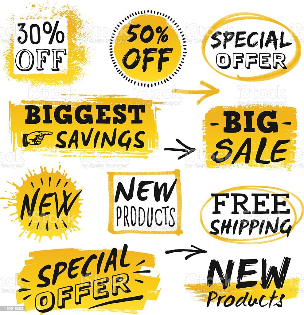 Retail Sale Signs and Banners vector art illustration