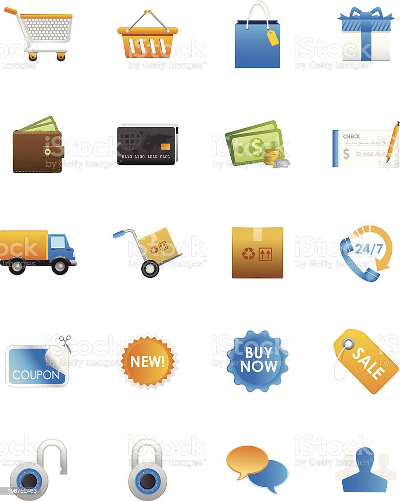 Retail Shopping, Delivery Network & Sale Icons royalty-free stock vector art