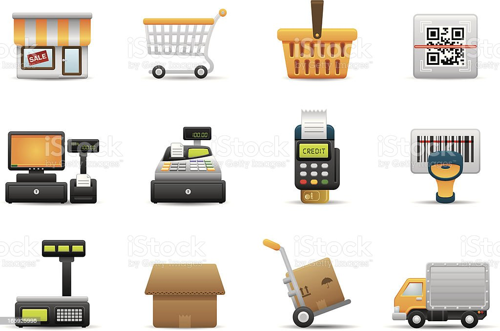 Retail & Shopping icons | Premium Matte series royalty-free stock vector art