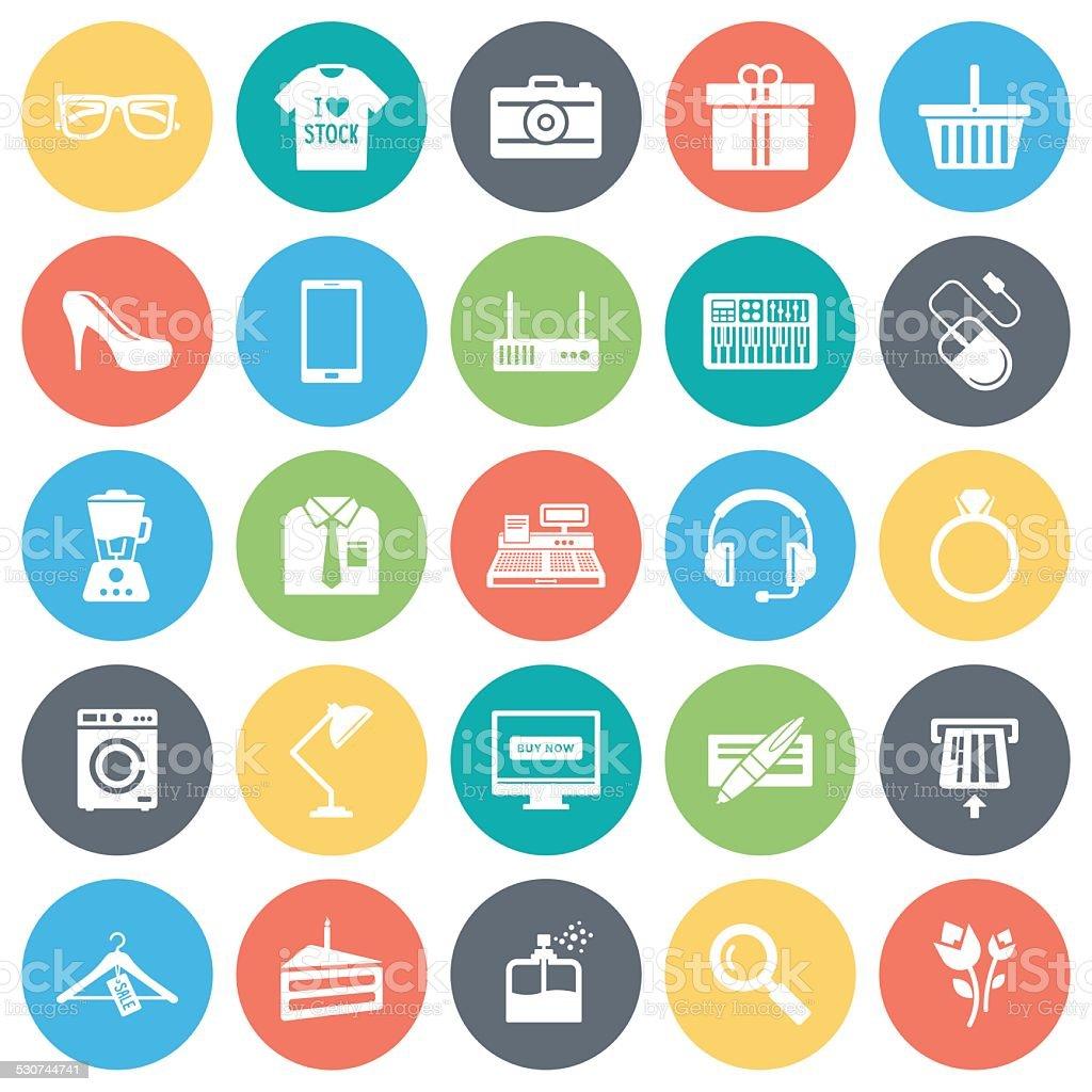 Retail Shopping Icons vector art illustration